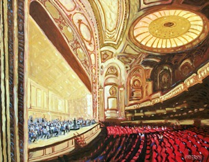 "Michael Anderson, Belleville, IL . Rehearsing Strauss. 2012. Acrylic on Canvas, 30""x40"". One of twelve artworks featured in ""Mussorgsky in Reverse."""