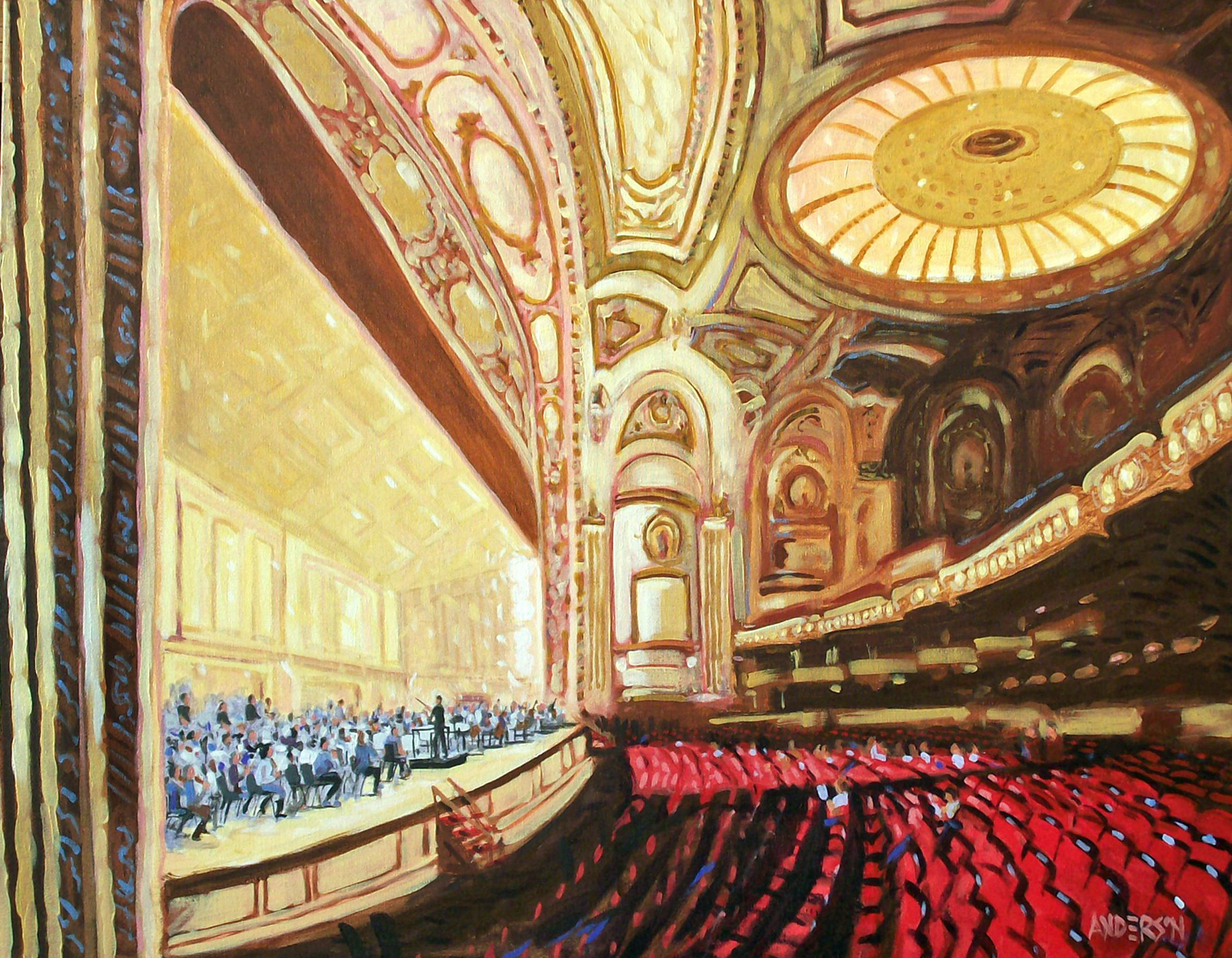 "Michael Anderson, Belleville, IL . Rehearsing Strauss. 2012. Acrylic on Canvas, 30""x40""."