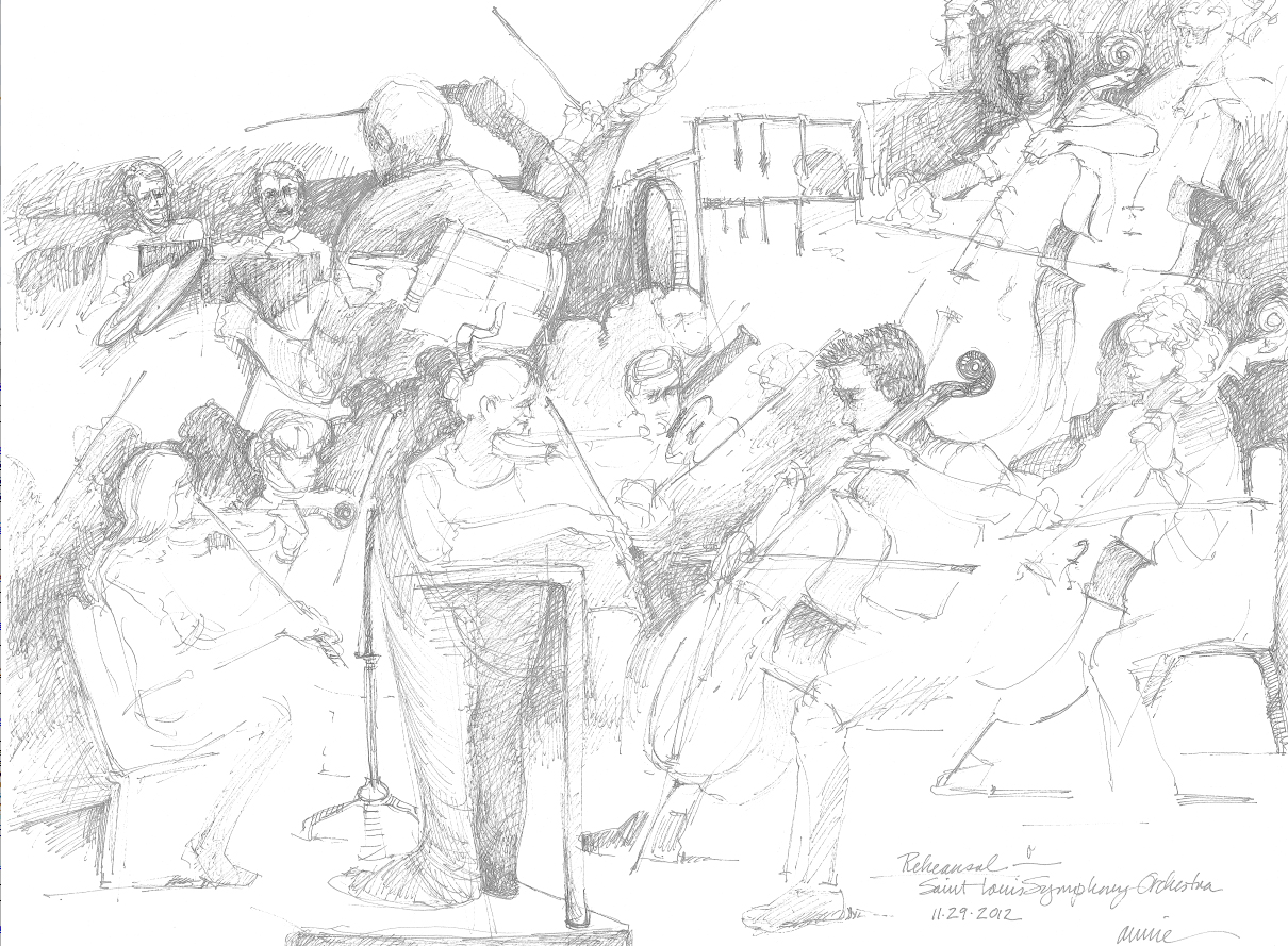 "Annie Scheumbauer. St. Louis, MO. Rehearsal-St. Louis Symphony Orchestra. 2012	Pen & Ink on Paper, 26""x30""."