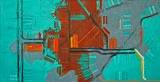 Mark Horton. City Map in Green, Red and Grey. Oil on Linen.