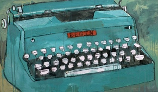 Megan Rieke. There is nothing to writing. All you do is sit down at a typewriter and bleed – Ernest Hemingway. 2013. Latex, Acrylic, Charcoal on Wood Panel.