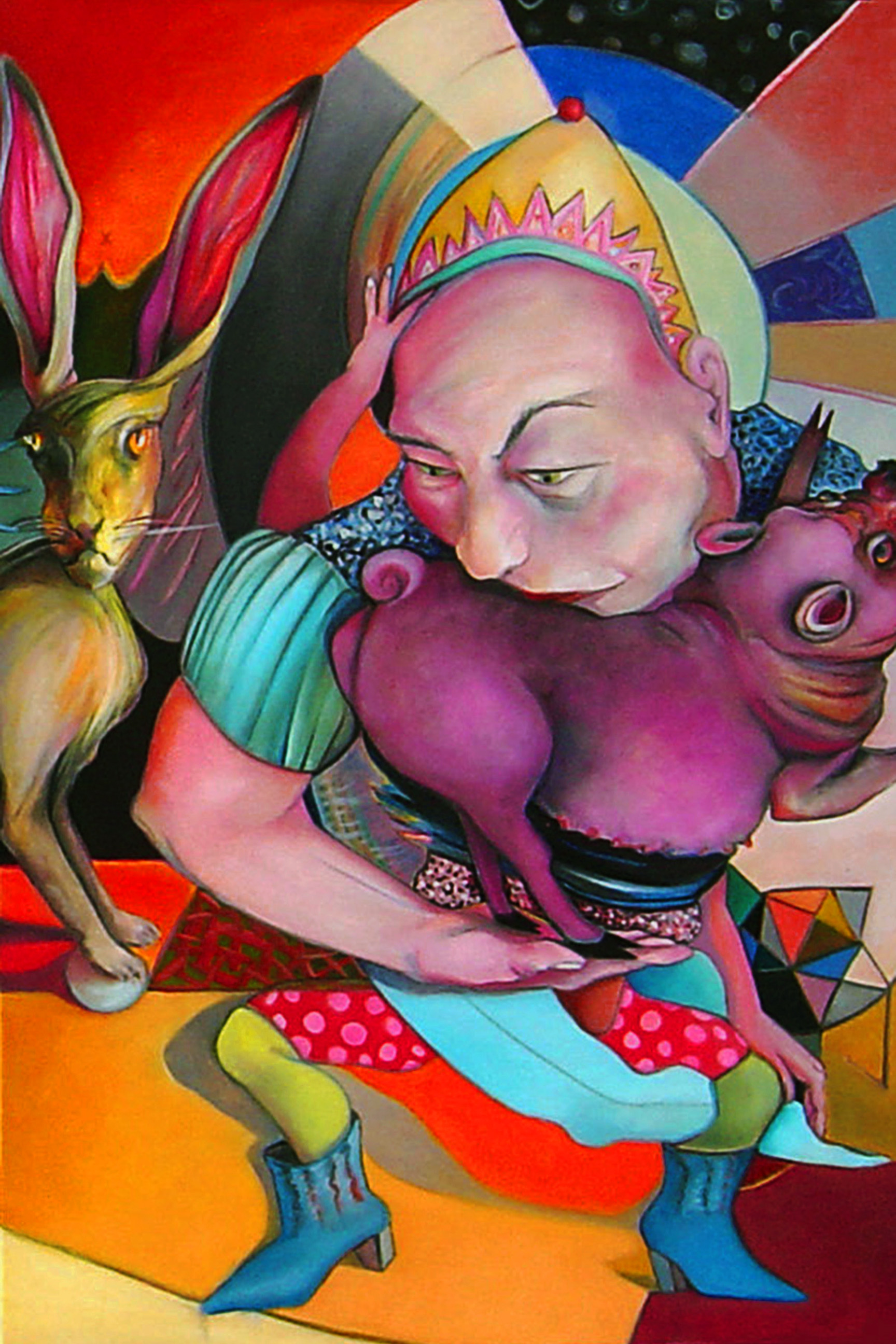 "Linda Horsley, St. Louis, MO. ""Queen Stealing Pig."" 2016. Oil on Canvas, 36""x24""			$950."