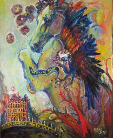 "Diane Reising, St. Louis, MO. ""Ride a Cock Horse."" 2016. Oil on Canvas, 30""x24"". $625."
