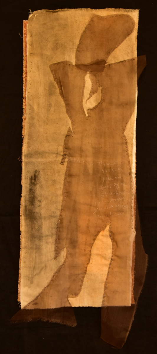 "Suzy Farren, Webster Groves, MO. ""Cut Up."" 2016. Eco-Dyed Cloth & Thread, 25""x8.5"". $250. This artwork was selected by the Jurors to receive an Award of Excellence."