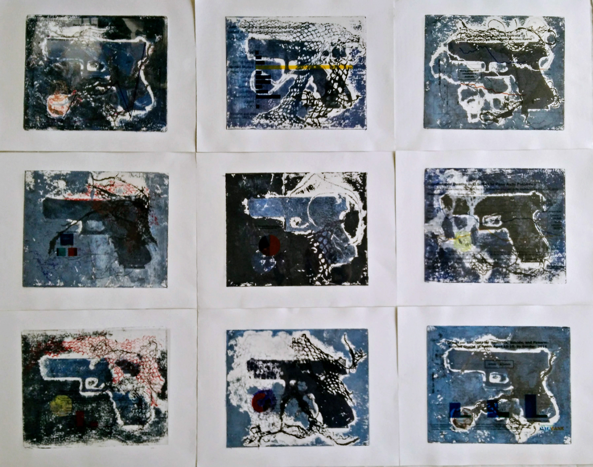 "Eve Dake Bayer, Ladue, MO. ""Exodus 20:13 Blue Series."" 2017. Collagraph, Ink on Paper, 11""x14"" each/9 parts. $3,400."
