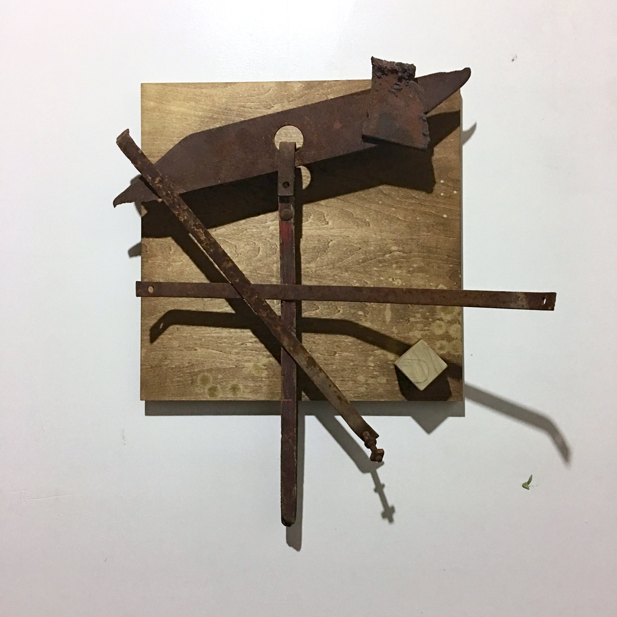 "Jared Nearsy, St. Louis, MO. ""The Balance Which Weighs."" 2017. Metal, Wood, Stain, Spray Paint, Graphite, 21.5""x21""x7.5"". $1,200."