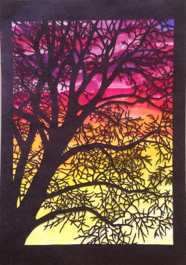 "Emily Cross, St. Louis, MO. ""Sunset Silhouette 2."" 2017. Cut Paper, Watercolor, 10""x8"". $250."