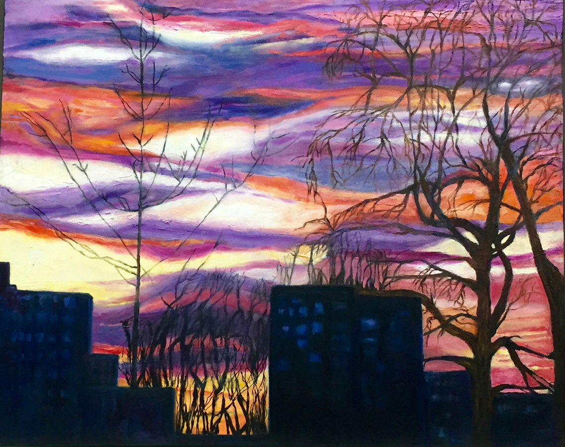 "Judith Medoff, Clayton, MO. ""Skinker at Dusk from Art Hill."" 2017. Oil on Canvas, 24""x30"". $750."