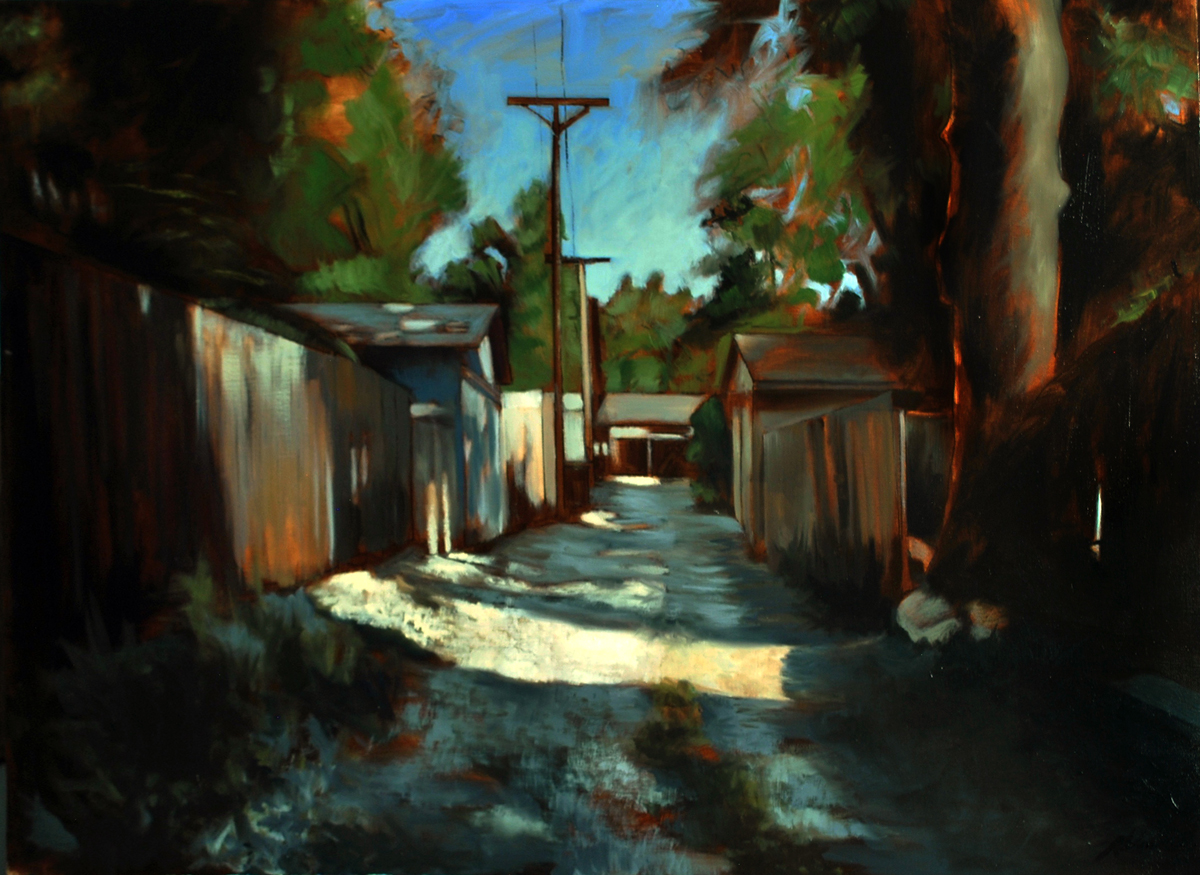 "Russell Vanecek, St. Louis, MO. ""Flad Avenue Alley."" 2015. Oil on Canvas, 42""x32"". $600. This artwork was selected by the exhibition Jurors to receive an Award of Excellence."