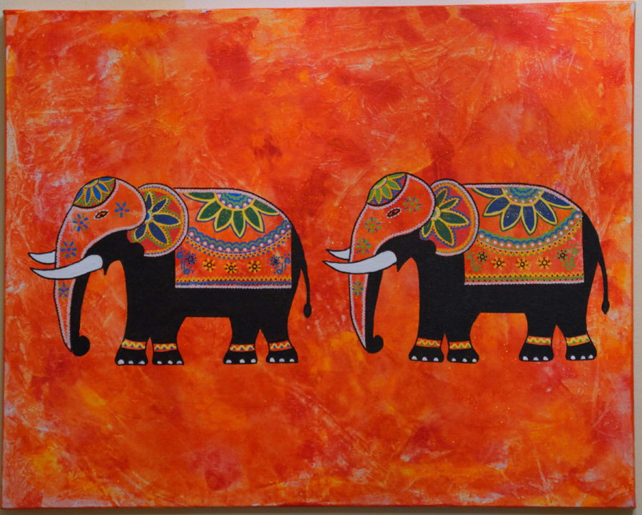 "Dushanthi Herath, Chesterfield, MO. ""Parading Elephants."" 2015. Acrylic on Canvas, 18""x22"". $40."