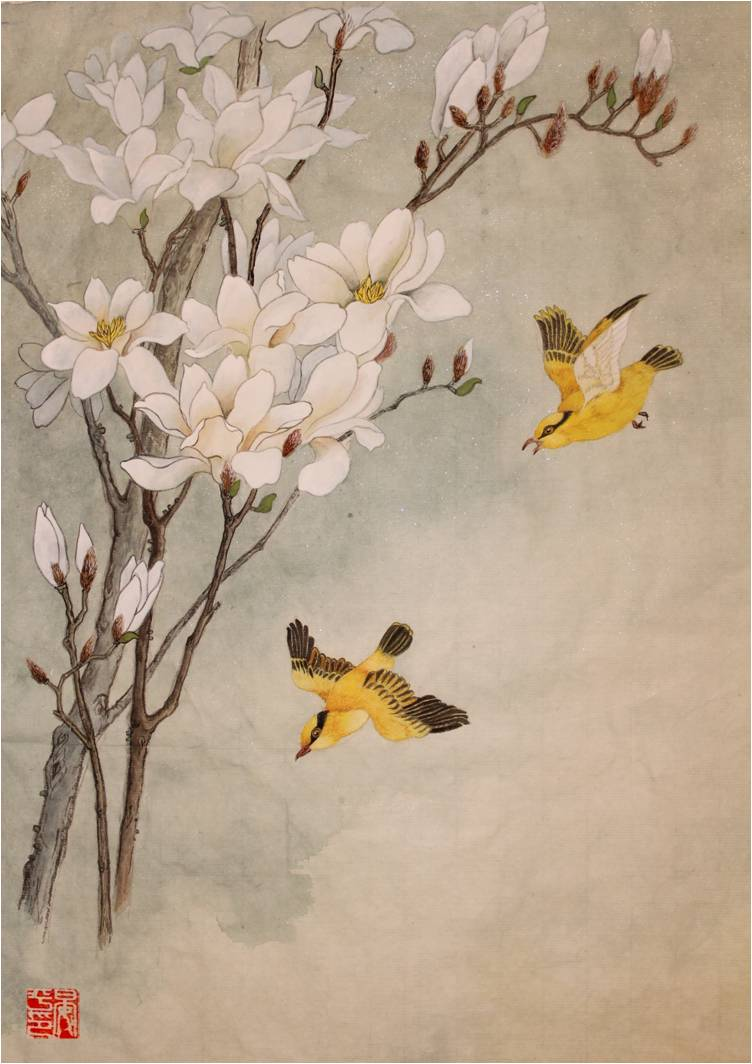 "Ping Yan, St. Louis, MO. ""Magnolia."" 2013. Chinese Painting, 27""x23"". $850."