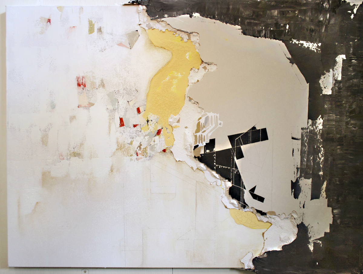"Carrie Gillen, St. Louis, MO. ""Re-imagining this Built World."" 2015. Mixed Media: Drywall, Acrylic, Oil on Canvas, 30""x41"". $650. Southern Illinois University Edwardsville. Professor: Jane Barrow."