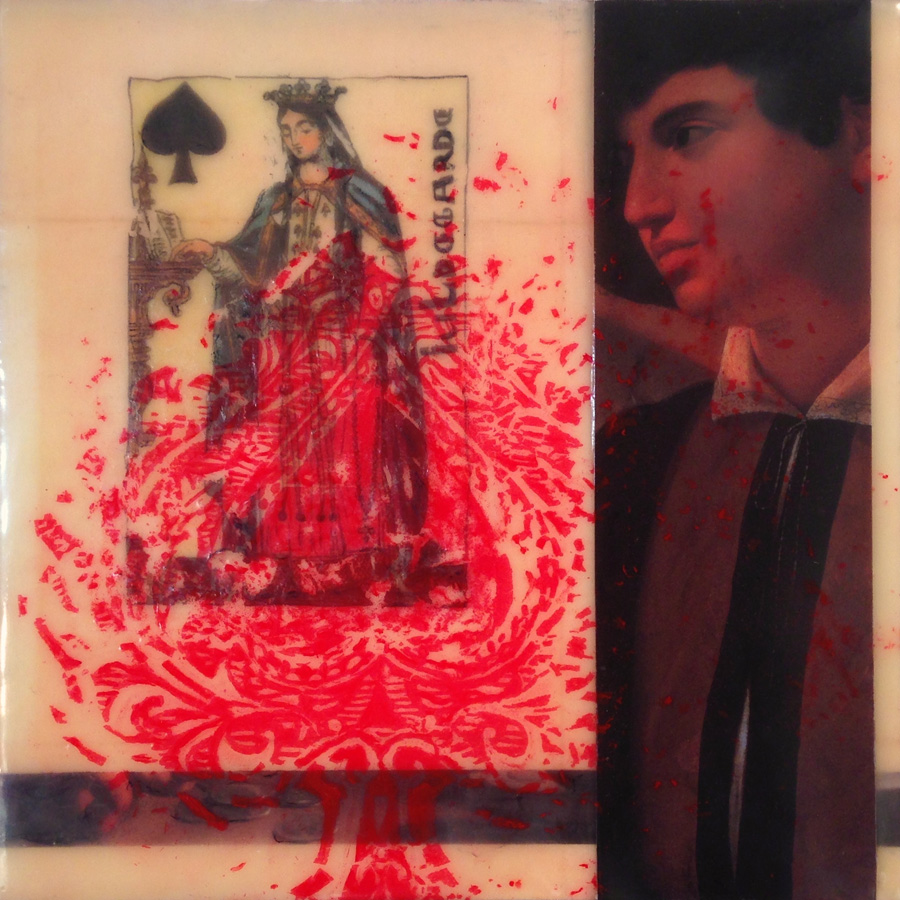 "Elizabeth M. Willey, St. Louis, MO. ""Our Lady of Fortune."" 2015. Encaustic Mixed Media: Beeswax, Damar Resin, Collage, Transfer, Oil Paint on Panel, 8""x8""x1.5"". $400. Fontbonne University. Professors: Tim Liddy, Victor Wang."