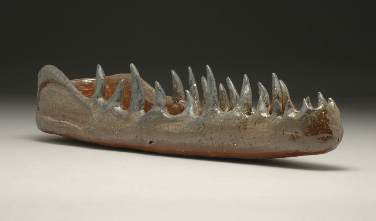 Ally Mikel. Crocodylidae. 2012. Stoneware Clay, Soda Fired to cone 10. St. Louis Community College Meramec.