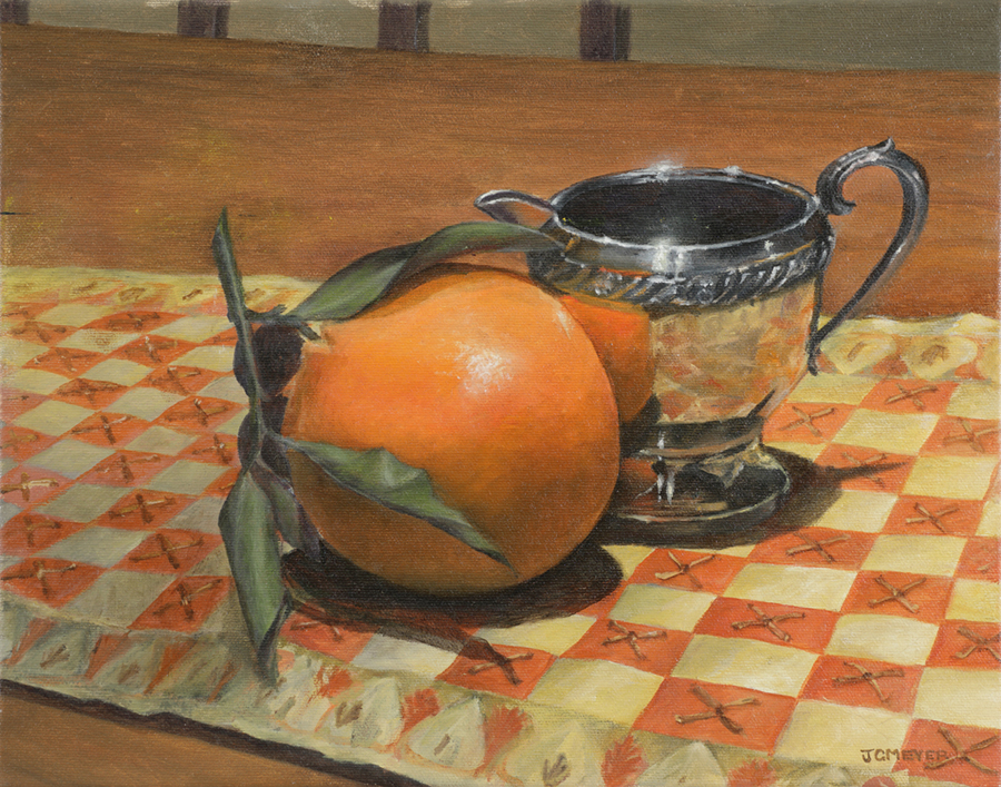 "Jeanne C. Meyer, Lewis & Clark Community College. ""Silver Creamer with Orange."" 2017. Oil on Canvas, 12""x15"". Not for Sale."