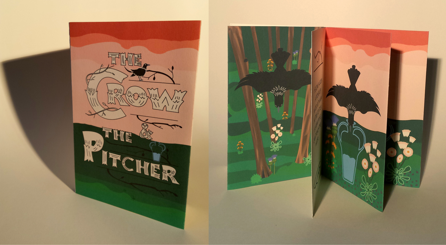 "Angelica Rodgers, Lebanon, IL. The Crow and The Pitcher. 2016. Handmade Book: Adobe Illustrator, Archival Inkjet Printing on Fabriaro Paper, Bound with String, 8.5""x5.5""x.25"". Not for Sale. McKendree University. Professor: Amy MacLennan."