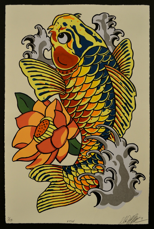 "Matthew Wahlman, University of Missouri-St. Louis. Fish. 2011. Silkscreen on Paper, 12.5""x15.5""x1.75"". $100."