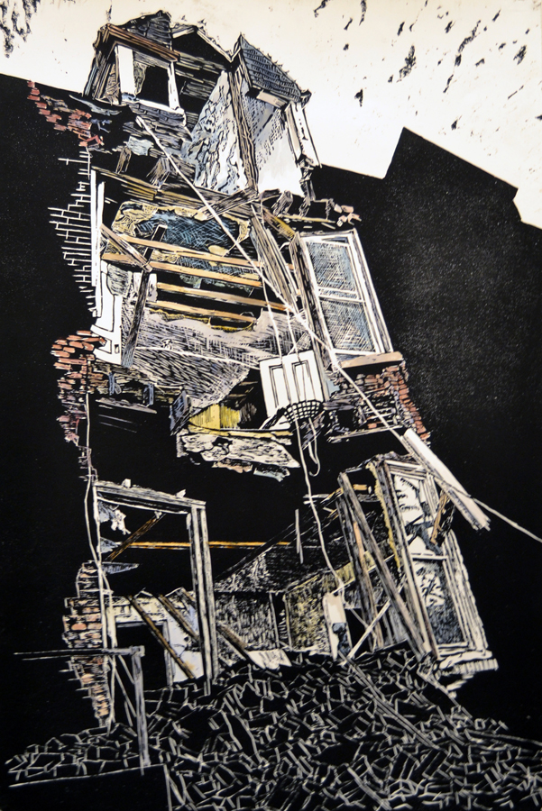 "Erica Wittkugel. Washington University in St. Louis. Openings. 2011. Woodcut on Paper, 24""x36"", $180."